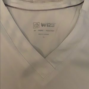 Large Wonder Wink white scrub top